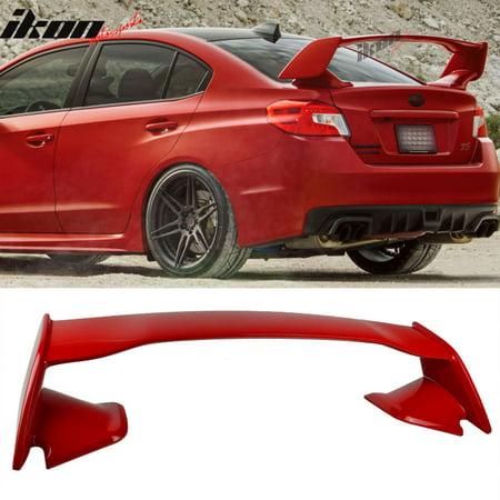 Sti Trunk - For 15-17 Subaru WRX STI Style ABS Trunk Spoiler Painted #C7P Lightning Red