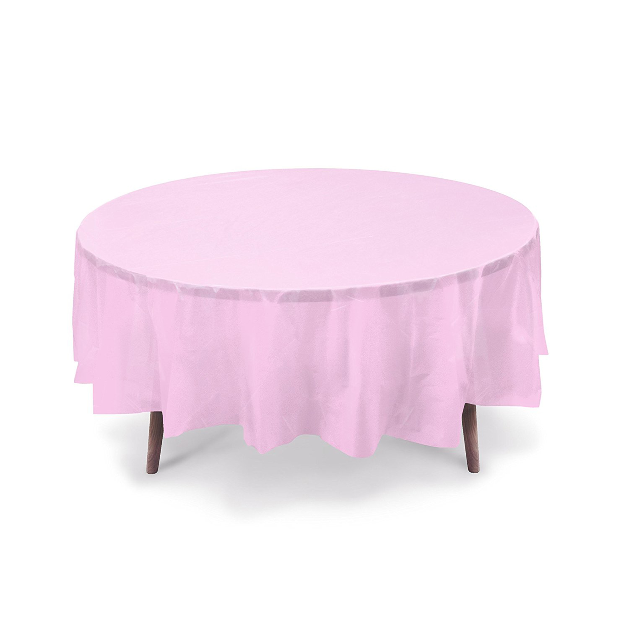 Pink Round Table.84 Light Pink Round Plastic Table Cover Party Table Cover Reusable Peva Light Pink
