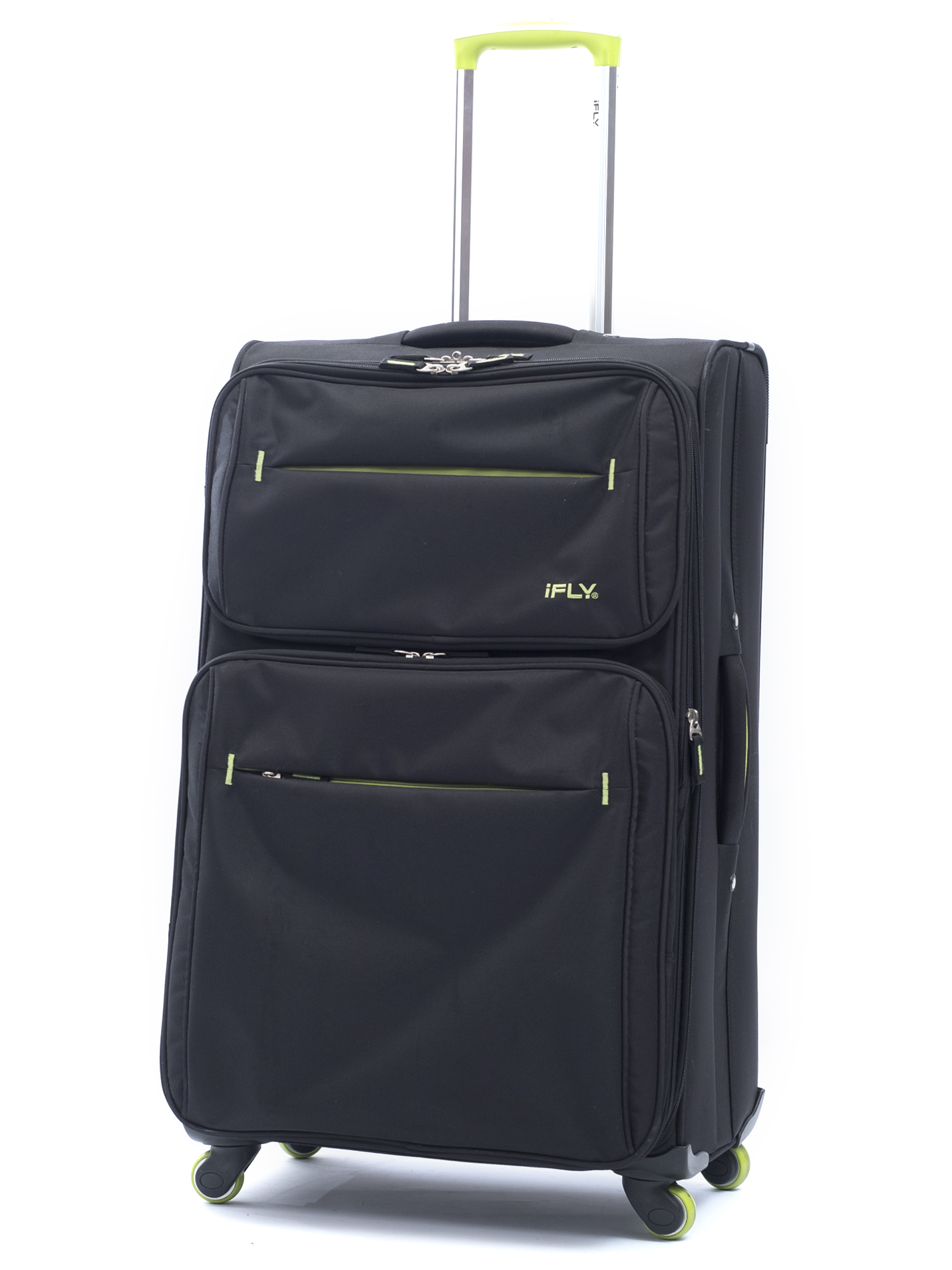 "iFLY Soft Sided Luggage Accent 28"", Black and Green"