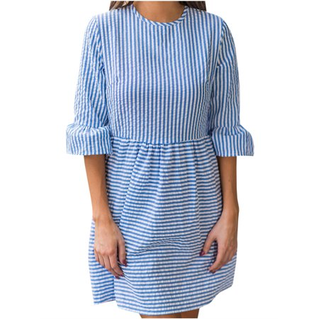 Womens Striped 3/4 Sleeve Crew Neck Casual Dress (Womens 3/4 Sleeve Dress)