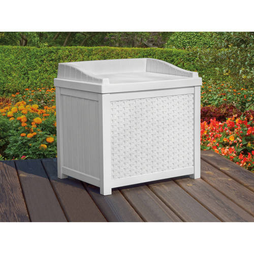 High Quality Suncast 22 Gallon White Resin Wicker Small Storage Seat Deck Box SSW1200W
