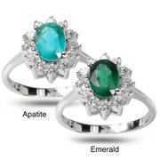 De Buman  Sterling Silver Genuine Gemstone with Cubic Zirconia Love-themed Ring