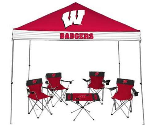 University of Wiscinsin Badgers Tailgate Kit Canopy 4 Chairs Table by Rawlings