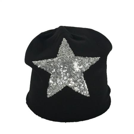 Stars Black Beanie - Fashion Culture Geebro Women's Sequin Star Slouchy Beanie Hat, Black