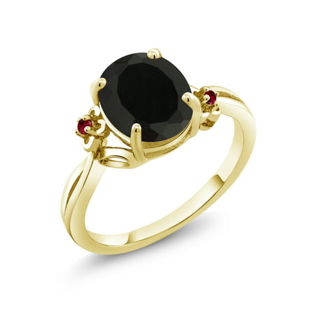 Black Hills Gold Ruby Ring (2.53 Ct Oval Black Onyx Red Created Ruby 18K Yellow Gold Plated Silver)