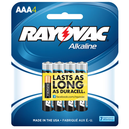 Rayovac Alkaline Traditional Pack AAA Batteries, 4-pack