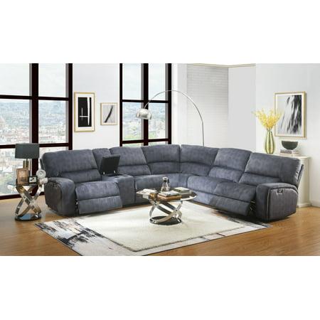 Acme Saul Power Motion Sectional Sofa in Blue Denim Velvet