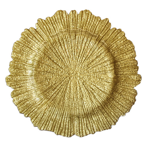"Jay Import Reef Gold 13.5""D Charger Plate"