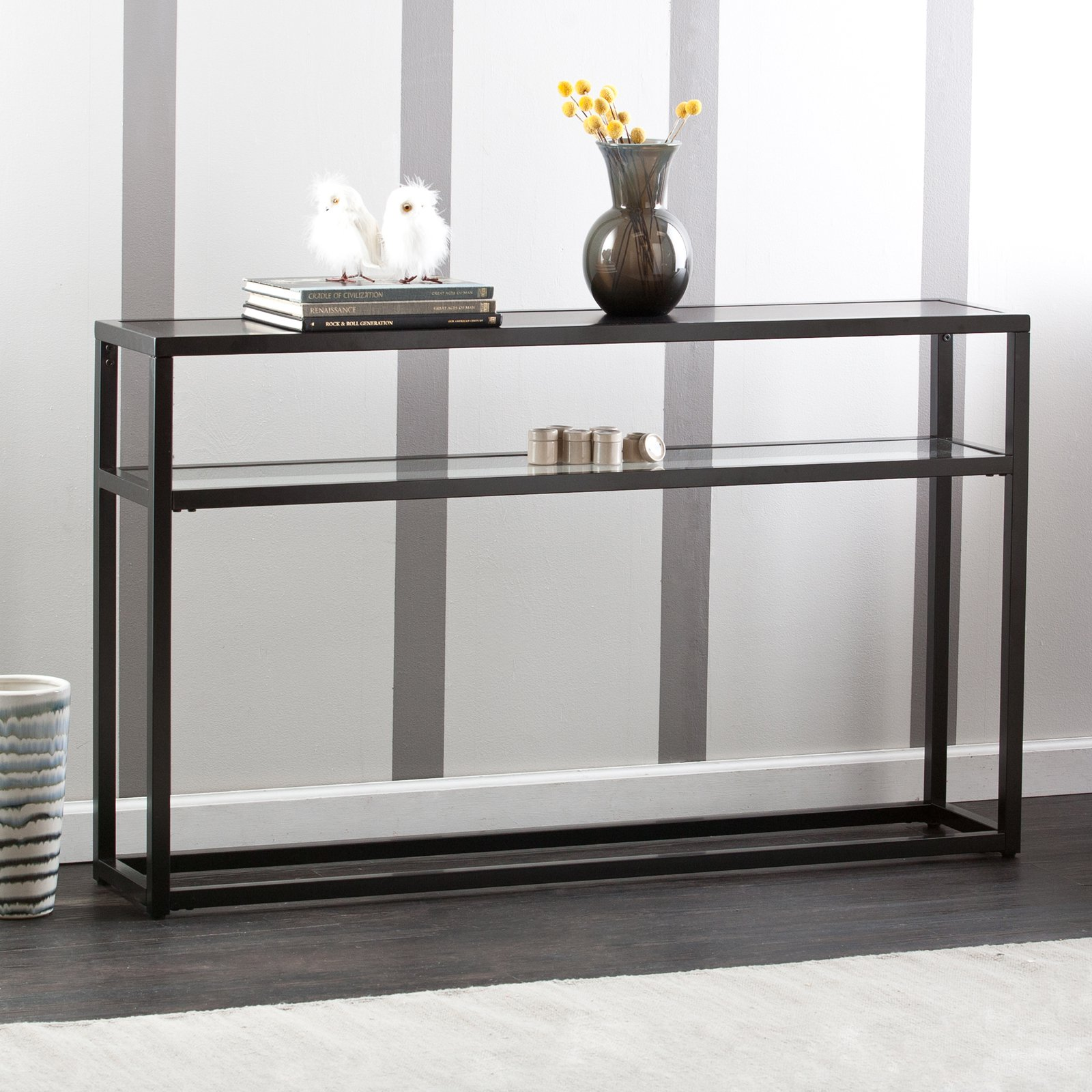 Holly And Martin Baldrick Console Table, Glass/Black   Walmart.com