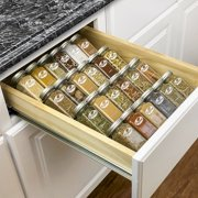 Lynk Professional Spice Rack Tray - 4 Tier Heavy Gauge Steel Drawer Organizer for Kitchen Cabinets, Silver Metallic, Medium