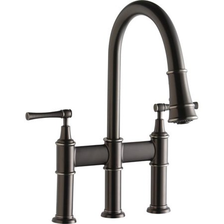 Elkay LKEC2037AS Explore Pull-Down Bridge Kitchen 3-Hole Faucet, Available in Various Colors