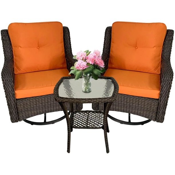 3 piece outdoor wicker patio furniture sets 360 degree swivel rocker cushioned chairs outside conversation bistro sets w coffee side table for small