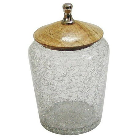Nu Steel GC-5407-S Crackle Glass Canister with Wooden Lid -