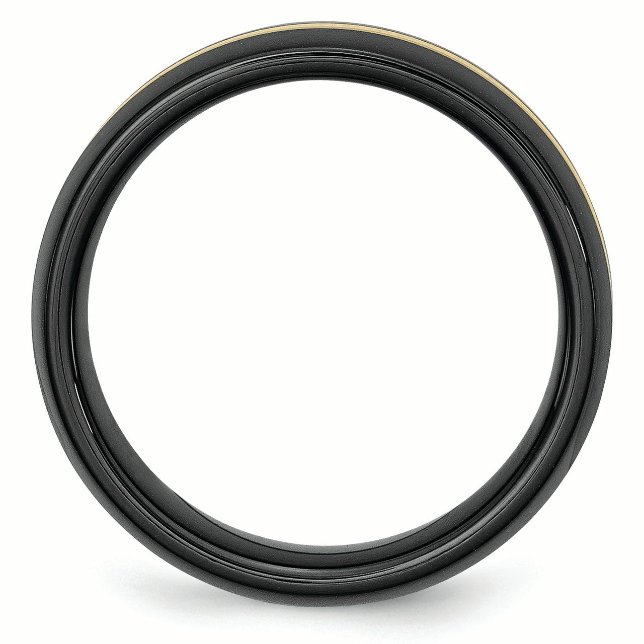 Ceramic Black with 14k Inlay 8mm Polished Band Ring 8.5 Size - image 3 de 6