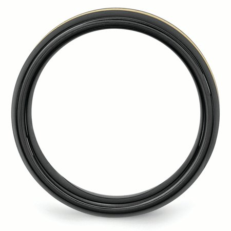 Ceramic Black with 14k Inlay 8mm Polished Band Ring 10 Size - image 3 of 6