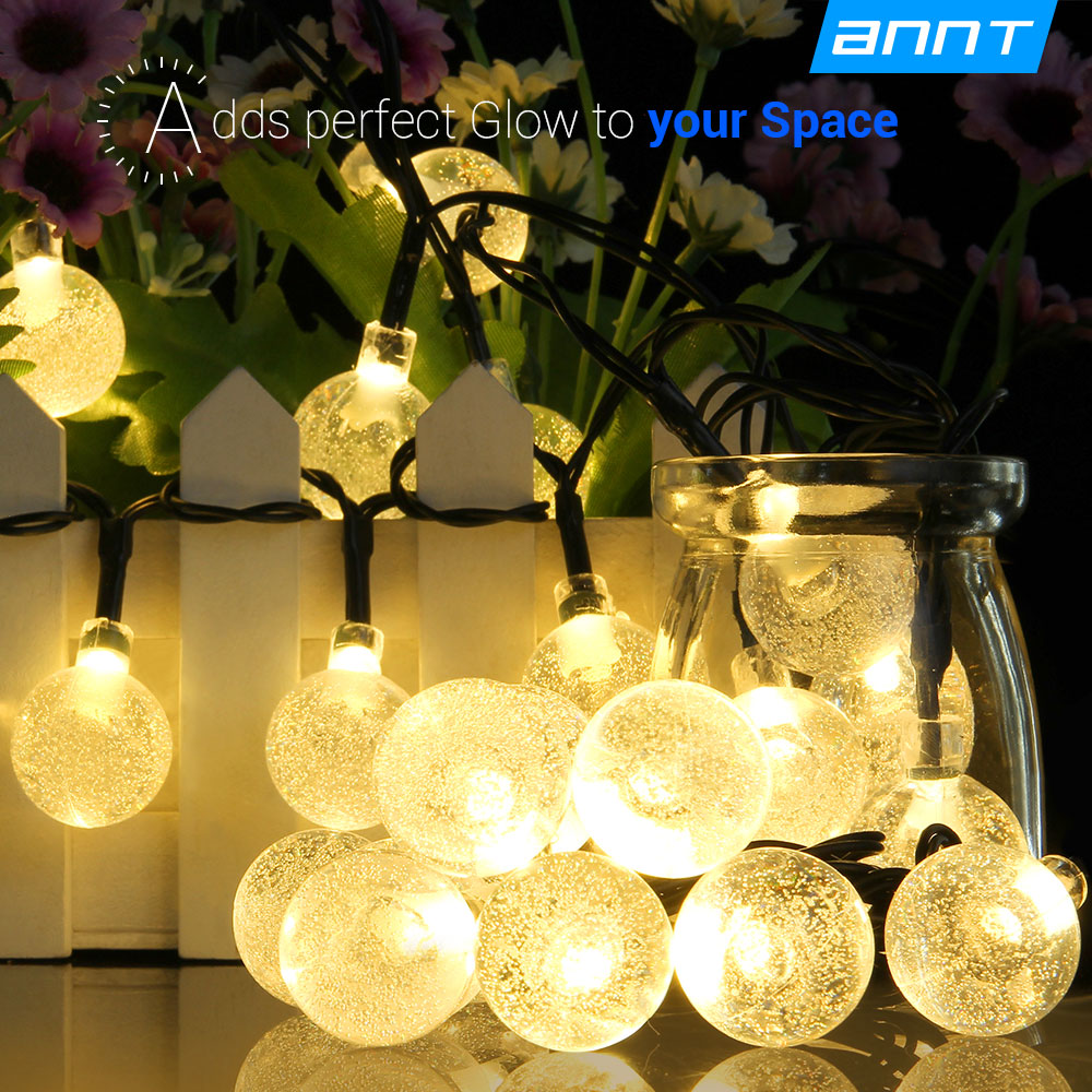 ANNT Warm White Solar Outdoor String Lights 20ft 30 LED  Crystal Ball Solar Powered Globe Fairy Lights for Garden Fence Path Landscape Decoration
