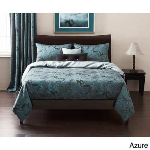 Cherry Blossom 6-piece Duvet Cover set: Comforter insert included Azure Queen