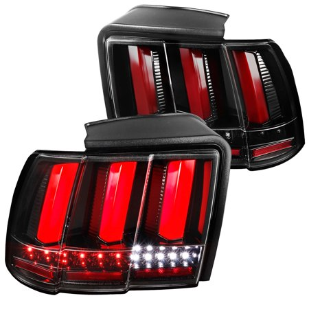 Spec-D Tuning For 1999-2004 Ford Mustang Replacement Jet Black Sequential Led Tail Lights Brake Lamps Pair (Left+Right) 1999 2000 2001 2002 2003