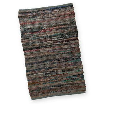 2 X 3 Hand Woven Gray Cotton Chindi Area Throw Rug