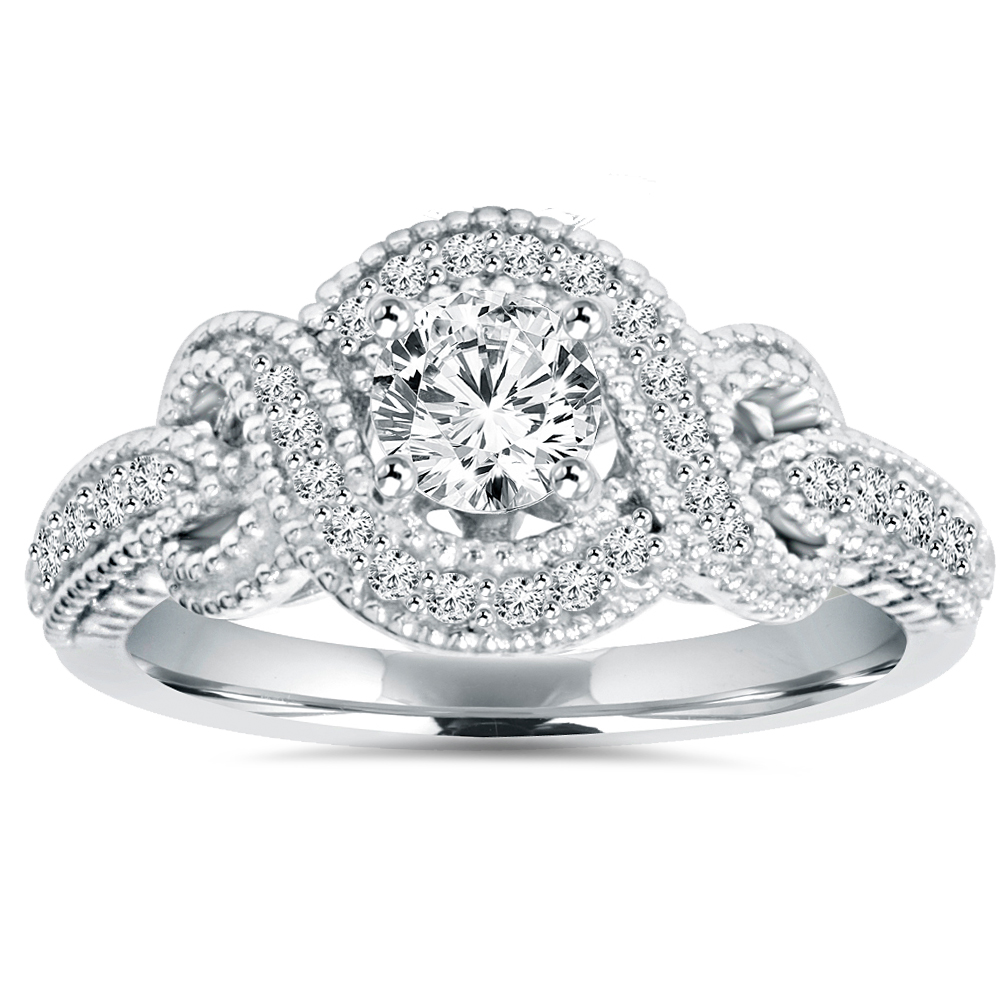 1 2Ct Vintage Diamond Infinity Engagement Ring 14K White Gold Antique by Pompeii3