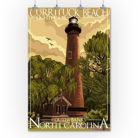 Outer Banks North Carolina Currituck Beach Lighthouse Lantern Press Artwork 36x54 Giclee Gallery Print Wall Decor Travel Poster