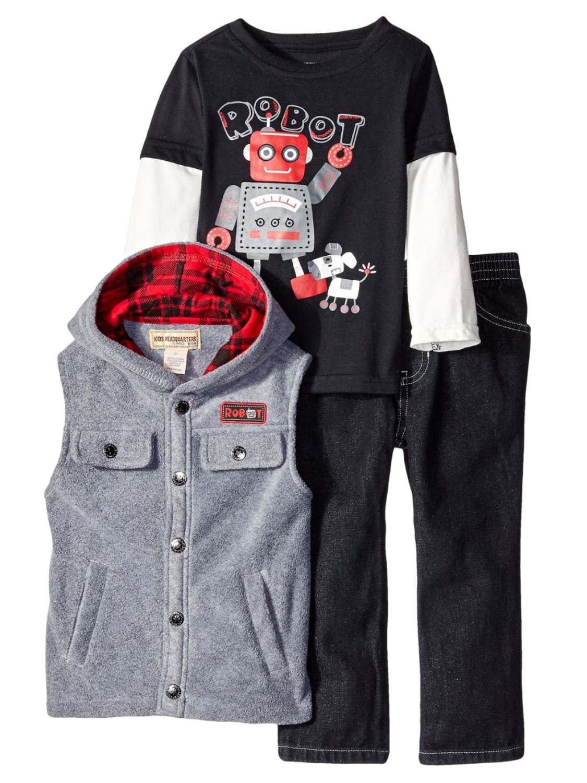 Kids Headquarters Infant Toddler Boys 3 Piece Robot Outfit Vest Shirt Pants