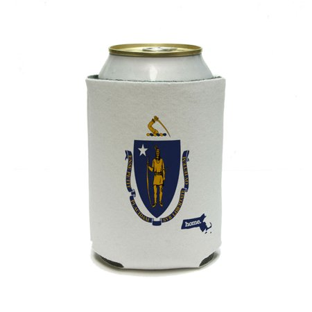 Massachusetts MA Home State Can Cooler Drink Insulated Holder - Flag