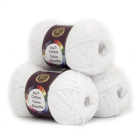 Lion Brand Yarn 24-7 Cotton Classic Yarn, Pack of 3