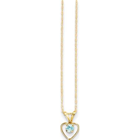 Leslies Fine Jewelry Designer 14K Yellow Gold Madi K 3mm Blue Zircon Heart Birthstone Necklace Pendant Gift