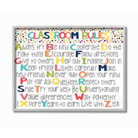The Kids Room by Stupell Classroom Rules Colorful Alphabet Framed Wall Art by Alli Rogosich