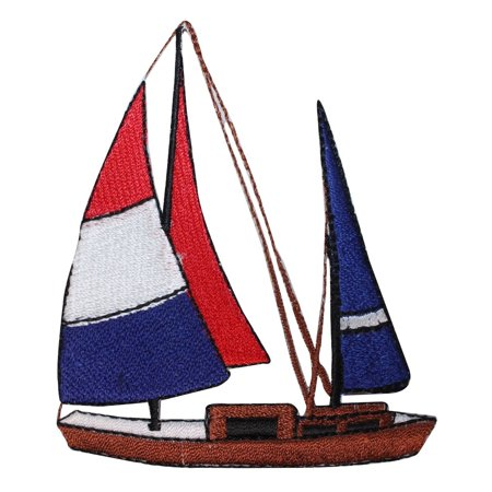 ID 1867 Sailboat Patch Ship Nautical Sailing Racing Embroidered Iron On Applique