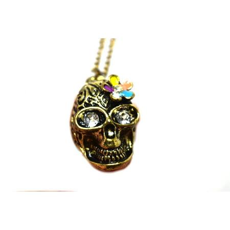 Skeleton Skull Head Antique Gold Plated Crystal Eyes Anti-Tarnish Necklace Pendant,