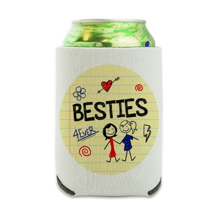 Besties Best Friends Can Cooler - Drink Sleeve Hugger Collapsible Insulator - Beverage Insulated