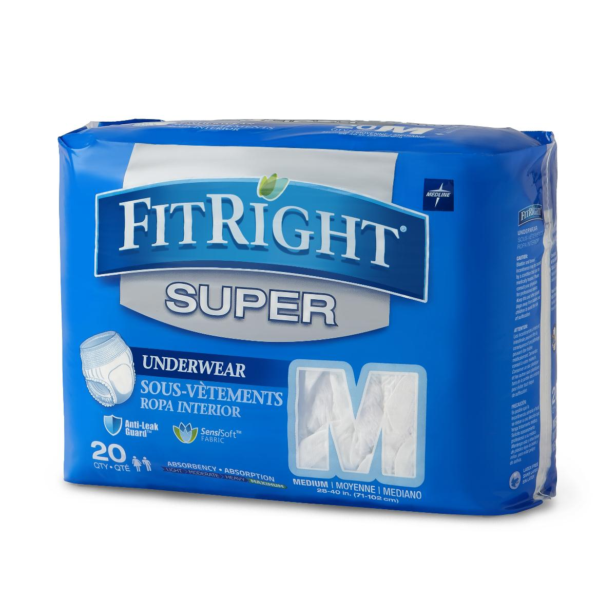 Medline FitRight Super Protective Disposable Underwear, 20 Count(Pack of 4)