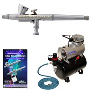G34 0.3mm Dual-Action Gravity AIRBRUSH KIT Tank Air Compressor Hobby Cake Tattoo