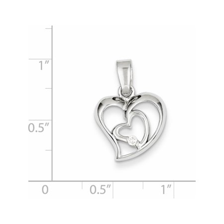 925 Sterling Silver Rhodium Plated CZ Open Double Heart (15x23mm) Pendant / Charm - image 1 of 2