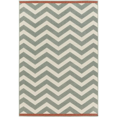 2.25' x 4.5' Classic Chevrons Mossy Stone Gray and Pearl Ivory Shed-Free Area Throw