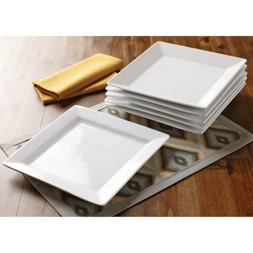 Better Homes and Gardens Square Dinner Plates, White, Set of 6