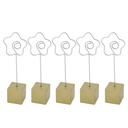Office Resin Base Flower Clasp File Photo Holder Stand Memo Clip Gold Tone 5pcs