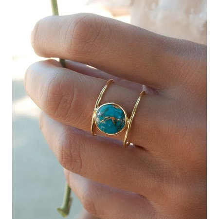 Exquisite 18k Gold Filled Charm Round Large Turquoise Ring Women's Jewelry Girls Gift Size - Charm Rings