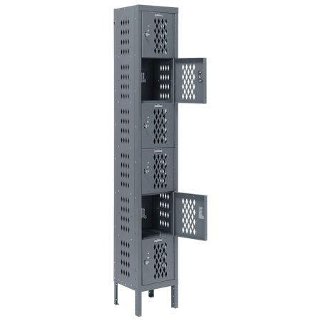 Heavy Duty Ventilated Steel Locker, Six Tier, 12x15x12, Unassembled, Gray, Lot of 1