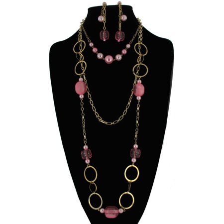 Pink Beaded Statement Bib Layered Big Link Gold Tone Necklace and Drop Chain Earrings 2 Piece Jewelry Set