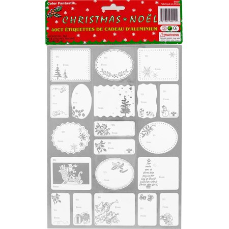 JAM Paper Foil Christmas Gift Tag Stickers, Silver, 40/pack
