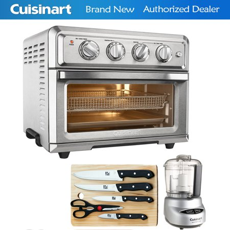 Cuisinart TOA-60 Convection Toaster Oven Air Fryer w/ Light (Silver) with Ultimate Kitchen Bundle Includes Mini Food Processor, 5-Piece Knife Set & Cutting Board