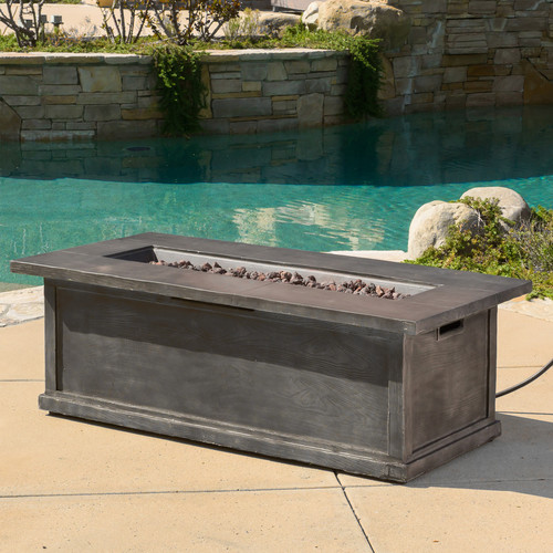 Loon Peak Stacy Wood Propane Firepit Table by