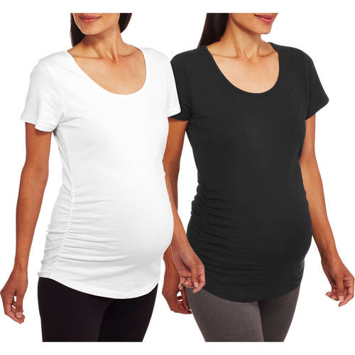 Oh! Mamma Maternity Short Sleeve Tee With Flattering Side Ruching, 2-Pack