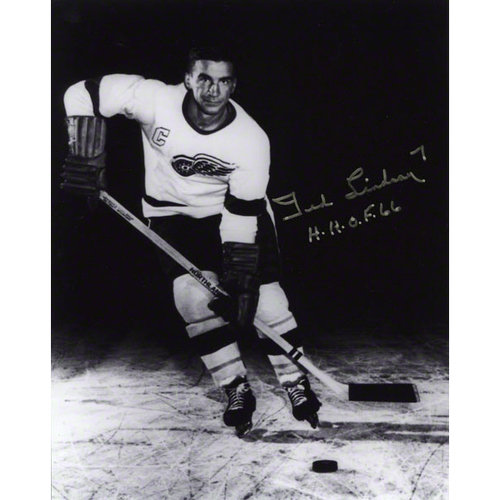 "NHL - Ted Lindsay Autographed 8x10 Photograph | Details: Detroit Red Wings, Black and White, ""H.H.O.F. 66"" Inscription"