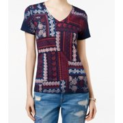 Tommy Hilfiger NEW Blue Womens Size Small S Paisley V-Neck Tee T-Shirt