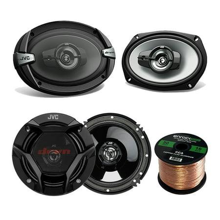 "Car Speaker Bundle Combo: 2x JVC DR620 6.5"" 2-Way 600 Watt And 2x DR693 6x9"" Inch 1100-Watt 4-Way DR-Series Audio Coaxial Upgrade Speakers + Enrock 50 Foot 16 Gauge Speaker Wire"