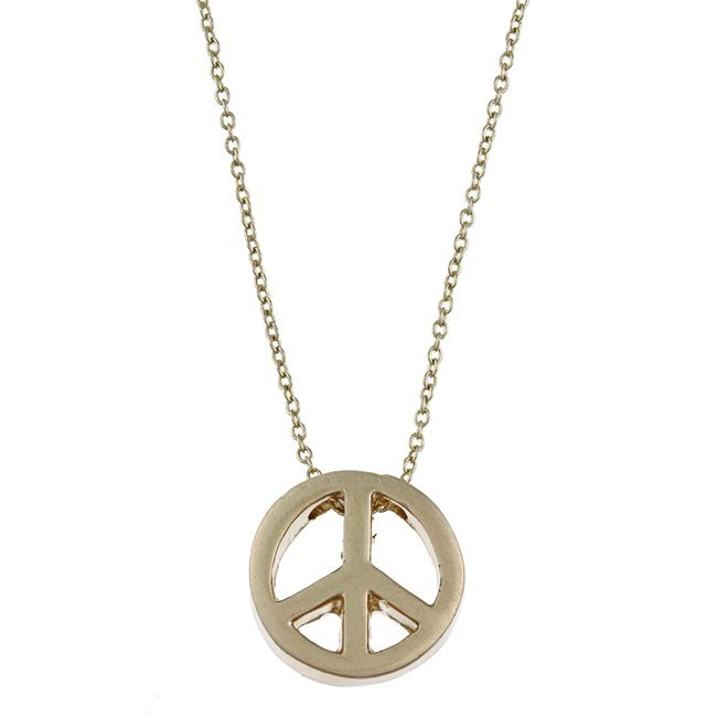 Zirconmania 629P-11818G Gold Tone Peace Charm Necklace